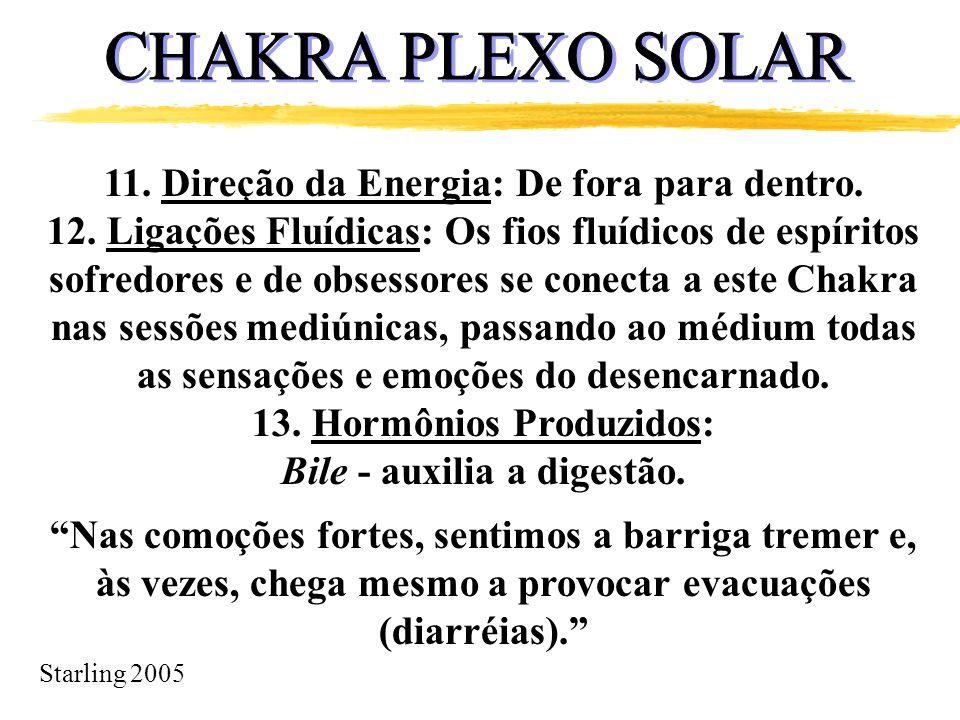 Starling 2005 11. Direção da Energia: De fora para dentro. 12. Ligações Fluídicas: Os fios fluídicos de espíritos sofredores e de obsessores se conect