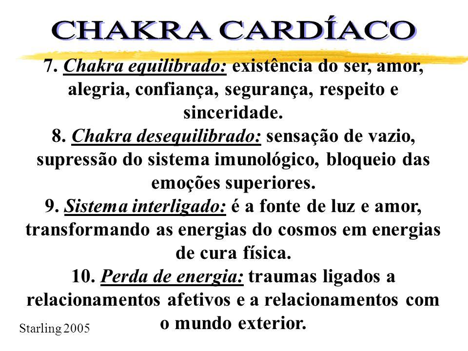 Starling 2005 7. Chakra equilibrado: existência do ser, amor, alegria, confiança, segurança, respeito e sinceridade. 8. Chakra desequilibrado: sensaçã
