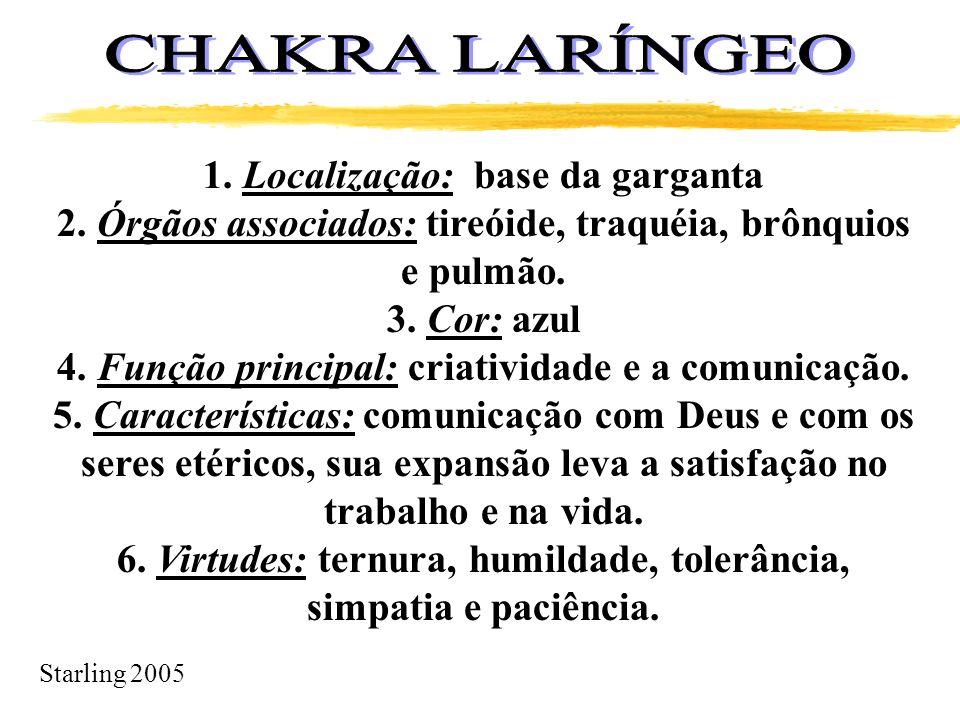 Starling 2005 1. Localização: base da garganta 2. Órgãos associados: tireóide, traquéia, brônquios e pulmão. 3. Cor: azul 4. Função principal: criativ