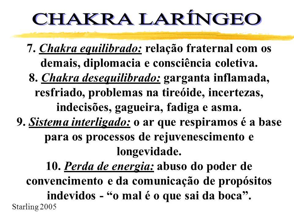 Starling 2005 7. Chakra equilibrado: relação fraternal com os demais, diplomacia e consciência coletiva. 8. Chakra desequilibrado: garganta inflamada,