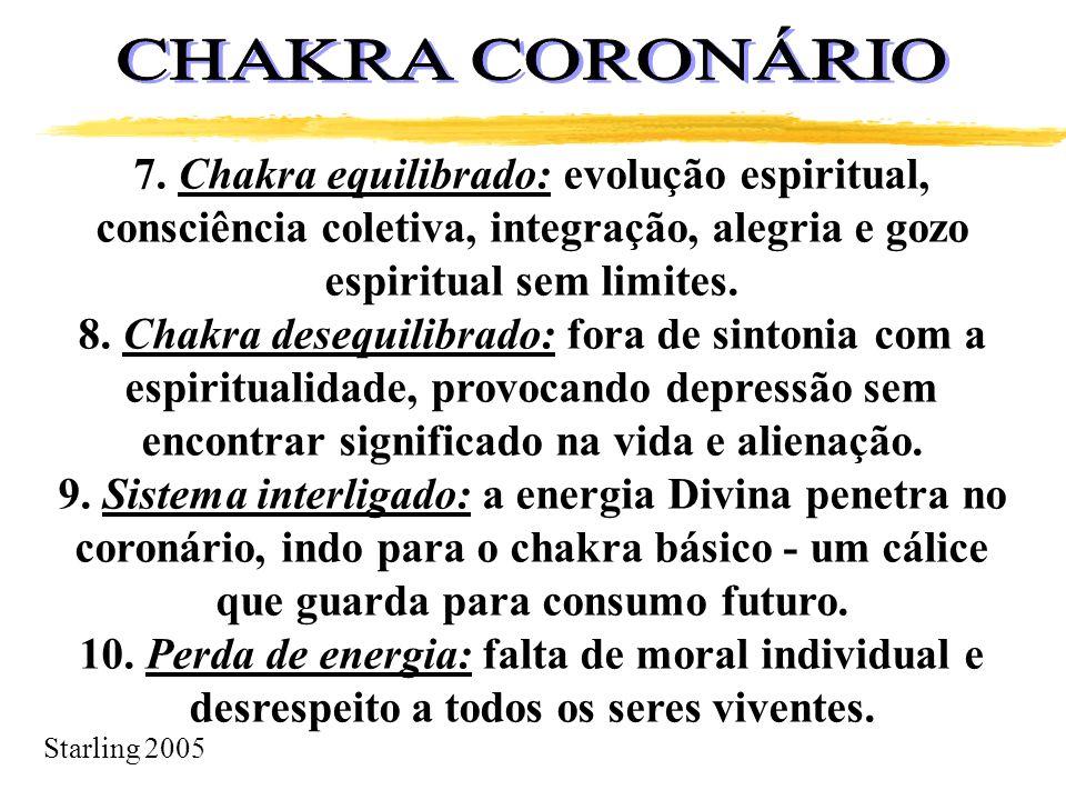 Starling 2005 7. Chakra equilibrado: evolução espiritual, consciência coletiva, integração, alegria e gozo espiritual sem limites. 8. Chakra desequili