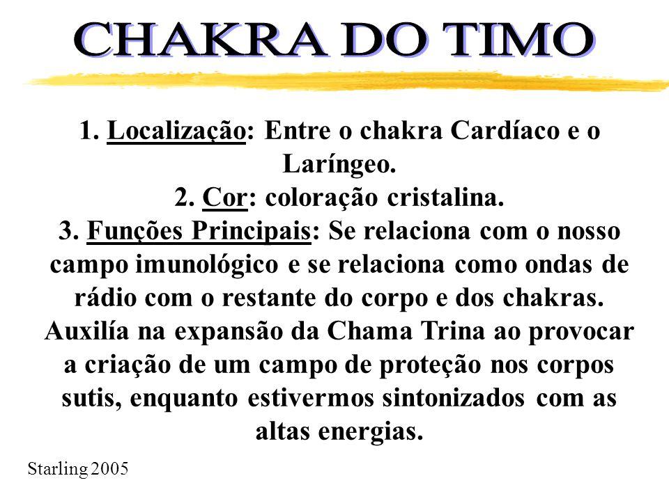Starling 2005 1. Localização: Entre o chakra Cardíaco e o Laríngeo. 2. Cor: coloração cristalina. 3. Funções Principais: Se relaciona com o nosso camp