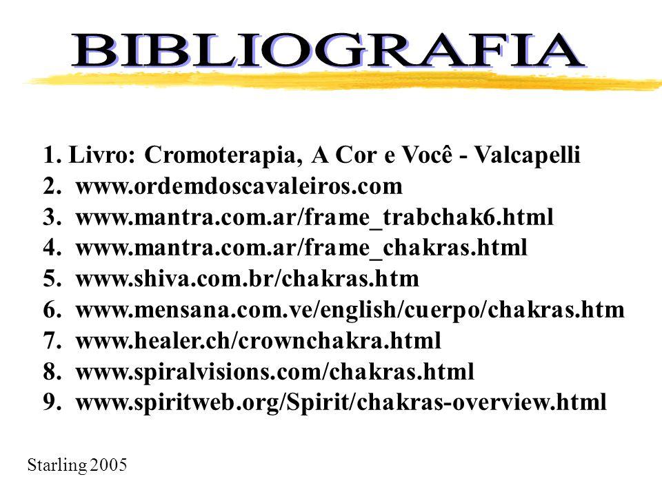 Starling 2005 1. Livro: Cromoterapia, A Cor e Você - Valcapelli 2. www.ordemdoscavaleiros.com 3. www.mantra.com.ar/frame_trabchak6.html 4. www.mantra.