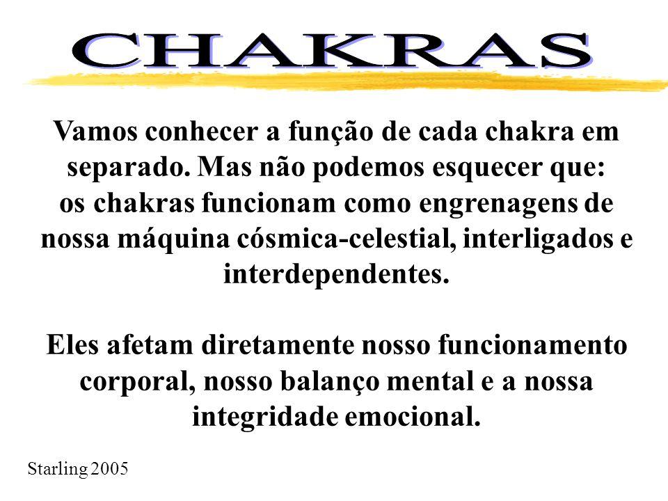 Starling 2005 Vamos conhecer a função de cada chakra em separado. Mas não podemos esquecer que: os chakras funcionam como engrenagens de nossa máquina