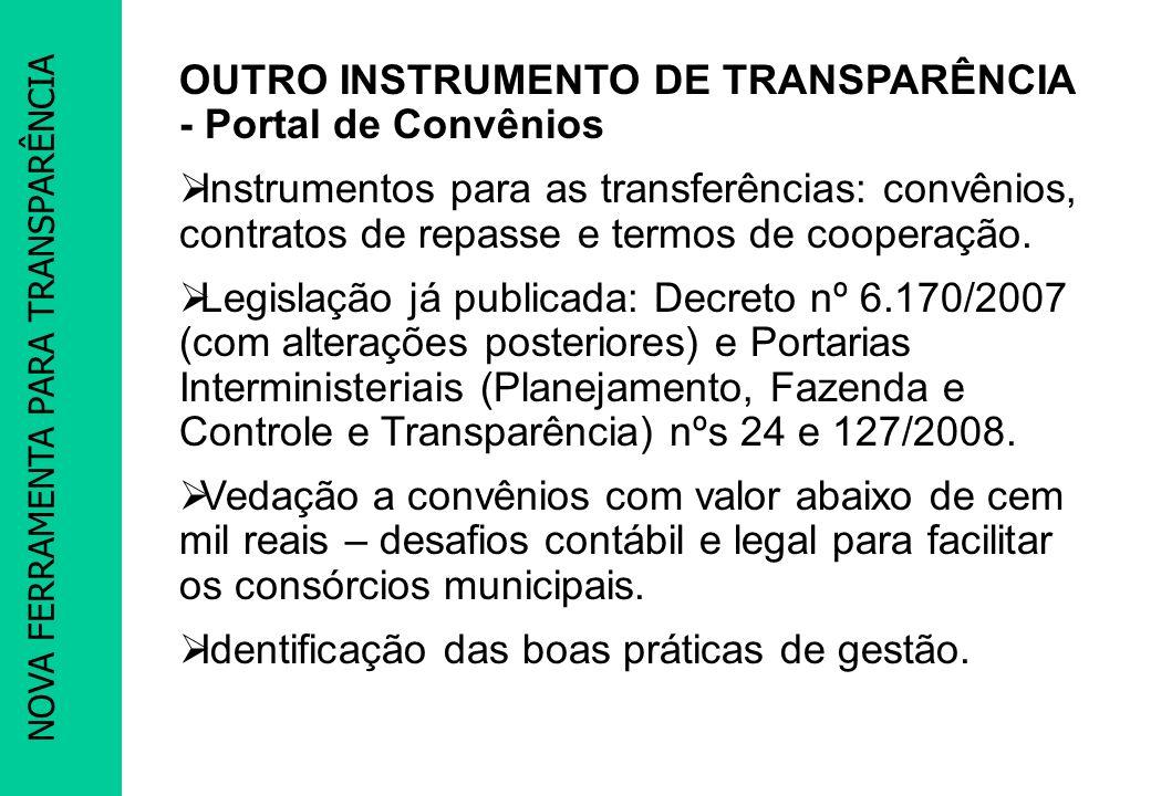 PACTUAÇÃO PROMOEX OUTRO INSTRUMENTO DE TRANSPARÊNCIA - Portal de Convênios Instrumentos para as transferências: convênios, contratos de repasse e term