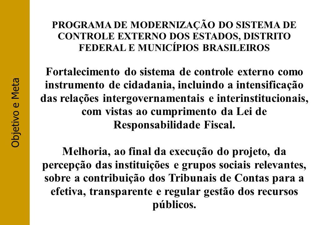 Objetivo e Meta PROGRAMA DE MODERNIZAÇÃO DO SISTEMA DE CONTROLE EXTERNO DOS ESTADOS, DISTRITO FEDERAL E MUNICÍPIOS BRASILEIROS Fortalecimento do siste