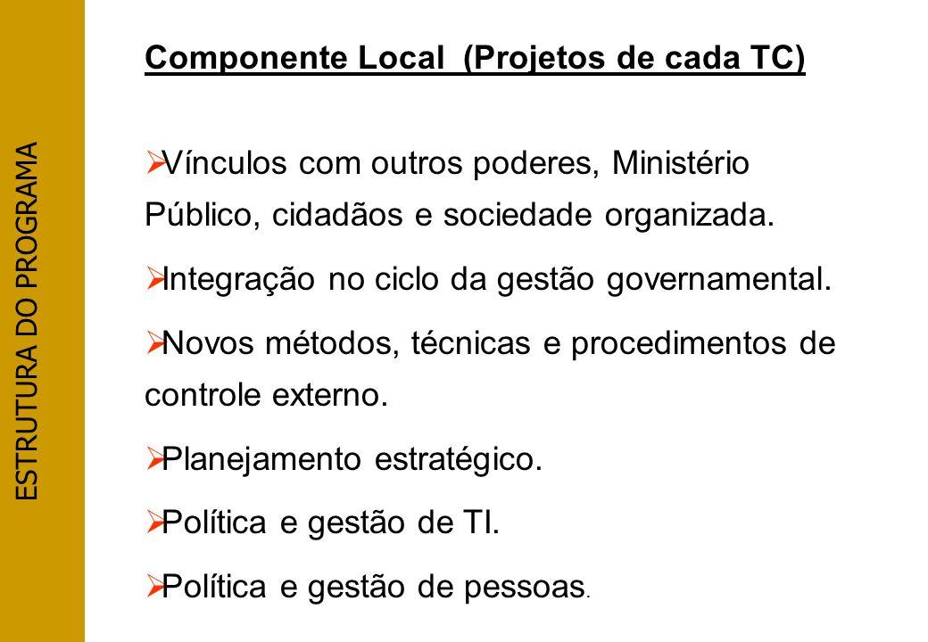Componente Local (Projetos de cada TC) Vínculos com outros poderes, Ministério Público, cidadãos e sociedade organizada. Integração no ciclo da gestão