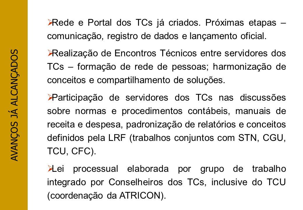 AVANÇOS JÁ ALCANÇADOS Rede e Portal dos TCs já criados. Próximas etapas – comunicação, registro de dados e lançamento oficial. Realização de Encontros