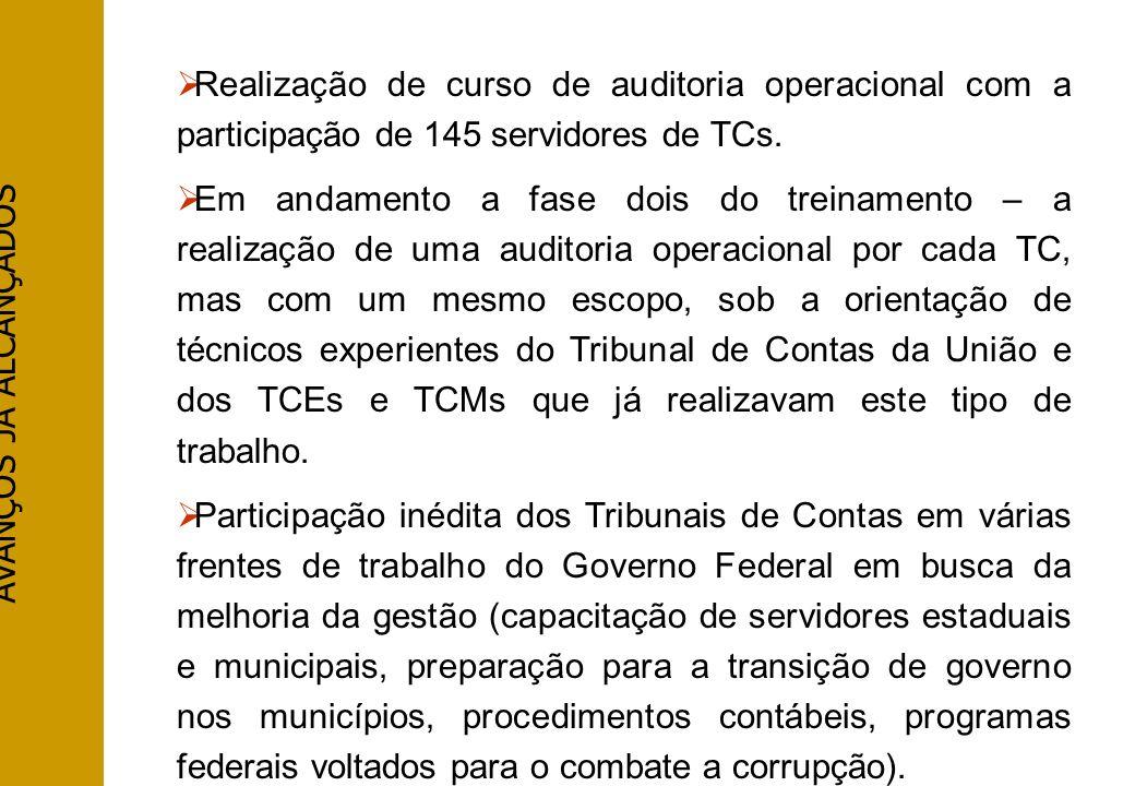 AVANÇOS JÁ ALCANÇADOS Realização de curso de auditoria operacional com a participação de 145 servidores de TCs. Em andamento a fase dois do treinament