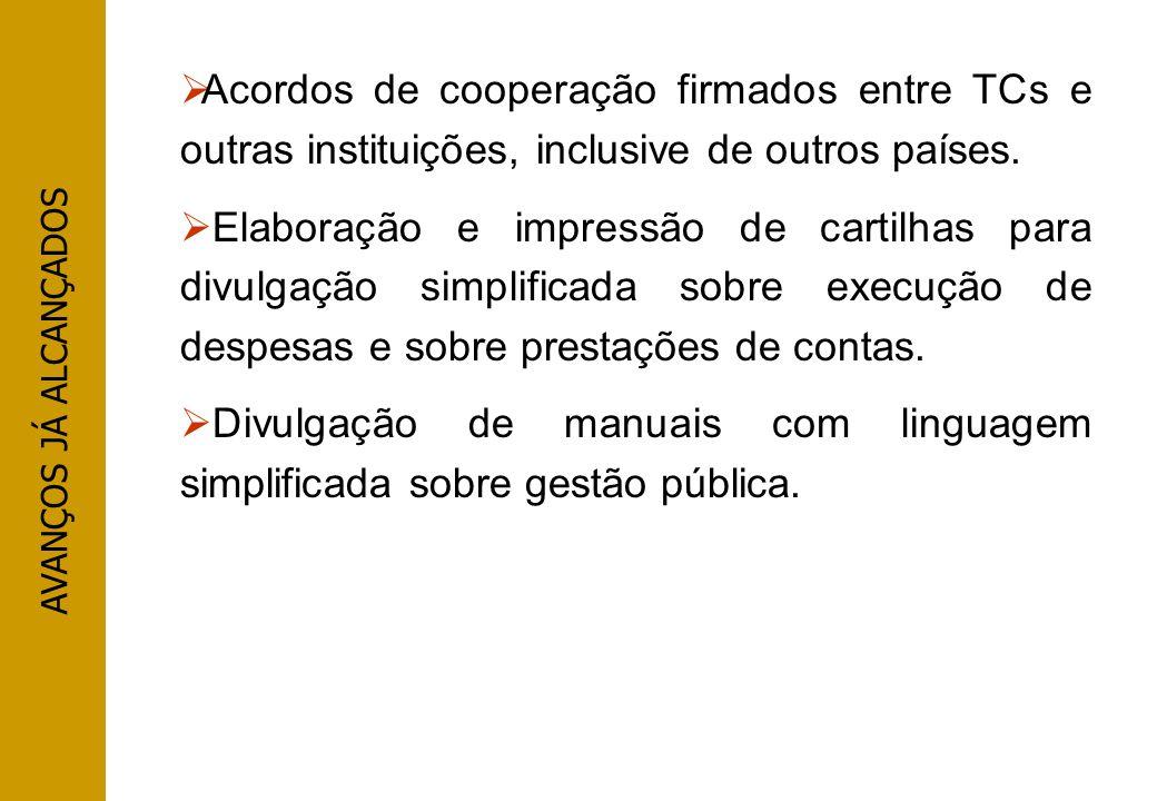 AVANÇOS JÁ ALCANÇADOS Acordos de cooperação firmados entre TCs e outras instituições, inclusive de outros países. Elaboração e impressão de cartilhas