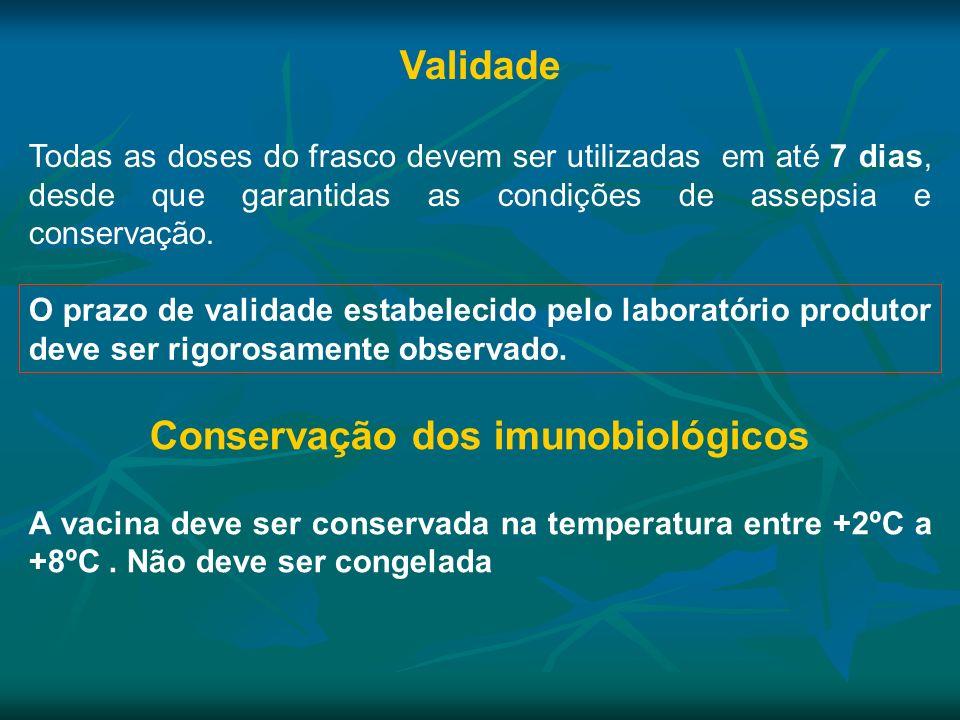 O prazo de validade estabelecido pelo laboratório produtor deve ser rigorosamente observado. Validade Todas as doses do frasco devem ser utilizadas em