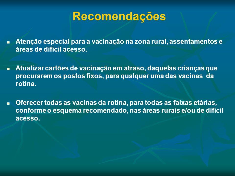 Atenção especial para a vacinação na zona rural, assentamentos e áreas de difícil acesso. Atualizar cartões de vacinação em atraso, daquelas crianças