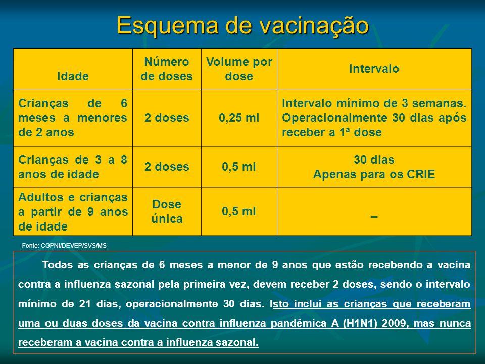 Esquema de vacinação Idade Número de doses Volume por dose Intervalo Crianças de 6 meses a menores de 2 anos 2 doses0,25 ml Intervalo mínimo de 3 sema