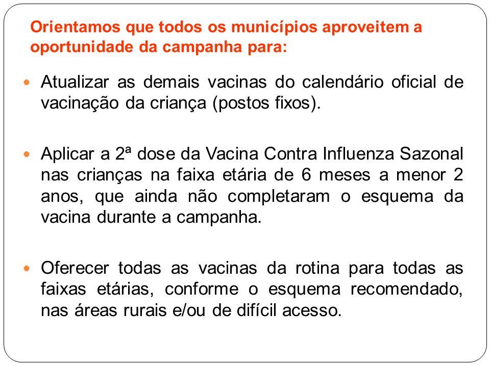 Atualizar as demais vacinas do calendário oficial de vacinação da criança (postos fixos). Aplicar a 2ª dose da Vacina Contra Influenza Sazonal nas cri