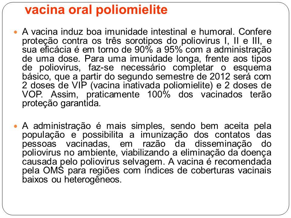 A vacina induz boa imunidade intestinal e humoral. Confere proteção contra os três sorotipos do poliovirus I, II e III, e sua eficácia é em torno de 9