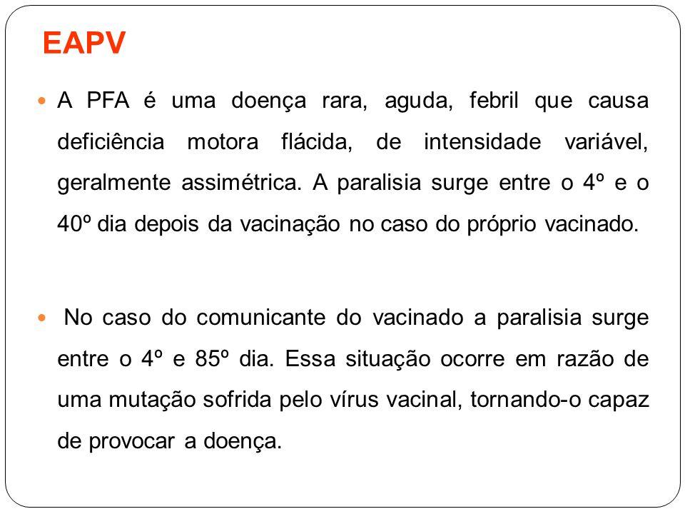 EAPV A PFA é uma doença rara, aguda, febril que causa deficiência motora flácida, de intensidade variável, geralmente assimétrica. A paralisia surge e