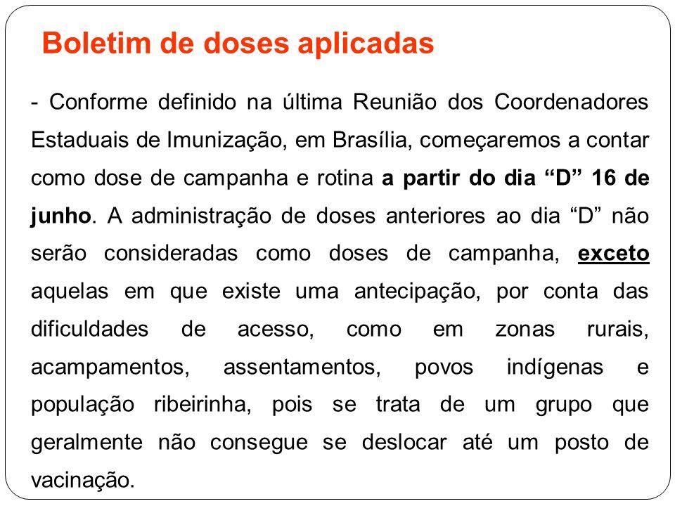 Boletim de doses aplicadas - Conforme definido na última Reunião dos Coordenadores Estaduais de Imunização, em Brasília, começaremos a contar como dos