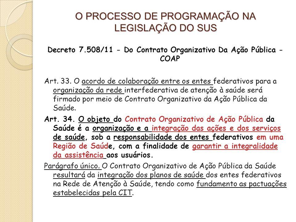 Decreto 7.508/11 - Do Contrato Organizativo Da Ação Pública - COAP Art. 33. O acordo de colaboração entre os entes federativos para a organização da r