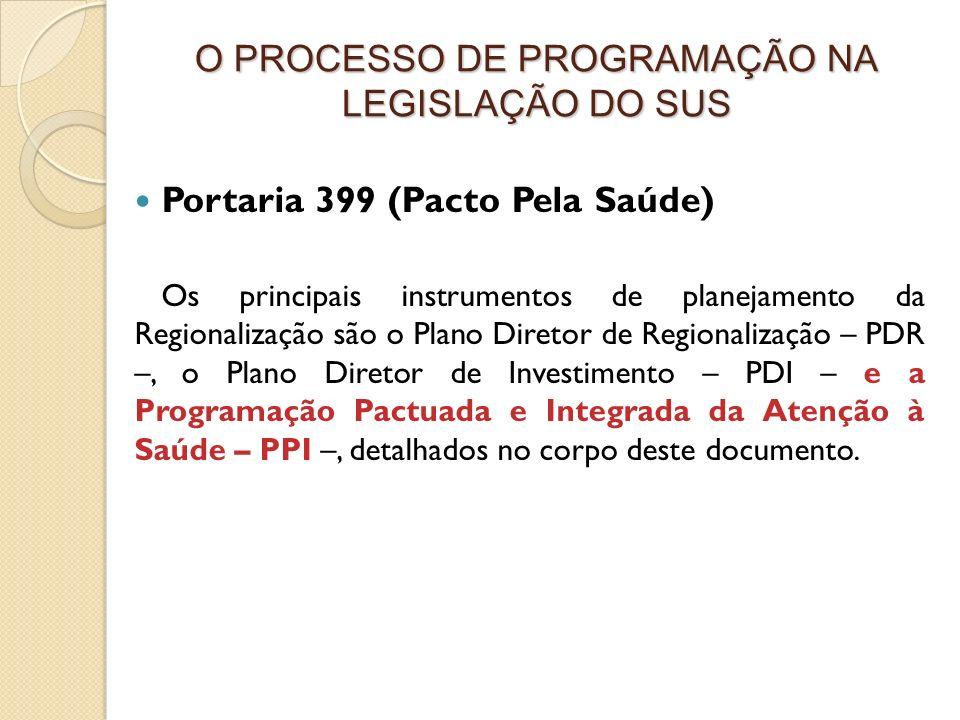 Portaria 399 (Pacto Pela Saúde) Os principais instrumentos de planejamento da Regionalização são o Plano Diretor de Regionalização – PDR –, o Plano Di