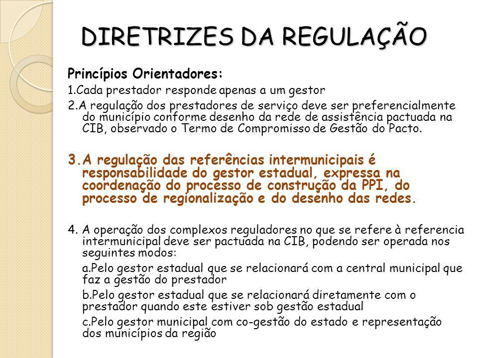 DIRETRIZES DA REGULAÇÃO Princípios Orientadores: 1.Cada prestador responde apenas a um gestor 2.A regulação dos prestadores de serviço deve ser prefer