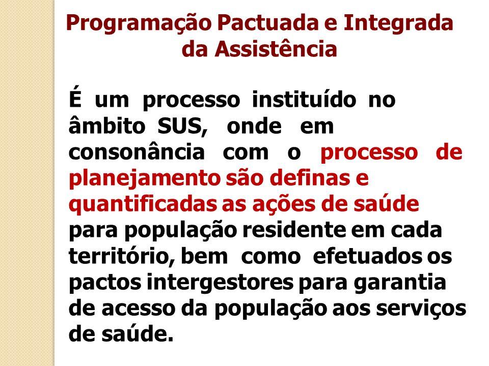 Programação Pactuada e Integrada da Assistência É um processo instituído no âmbito SUS, onde em consonância com o processo de planejamento são definas