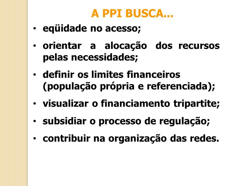 A PPI BUSCA... eqüidade no acesso; orientar a alocação dos recursos pelas necessidades; definir os limites financeiros (população própria e referencia