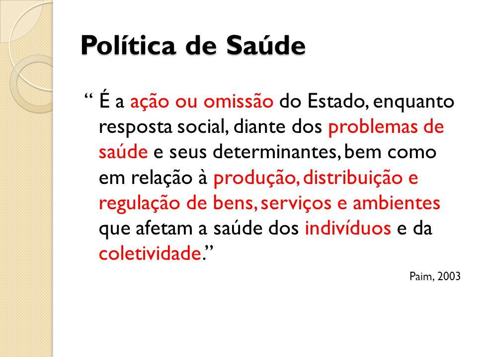 Política de Saúde É a ação ou omissão do Estado, enquanto resposta social, diante dos problemas de saúde e seus determinantes, bem como em relação à p