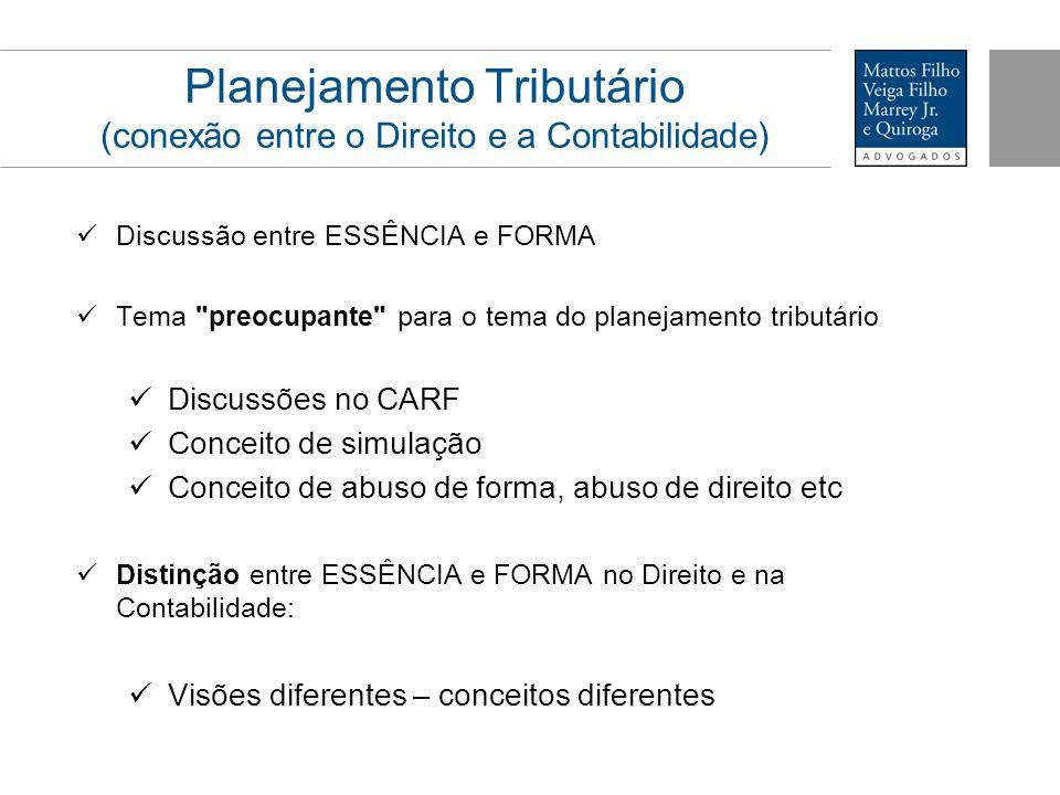 Planejamento Tributário (conexão entre o Direito e a Contabilidade) Discussão entre ESSÊNCIA e FORMA Tema