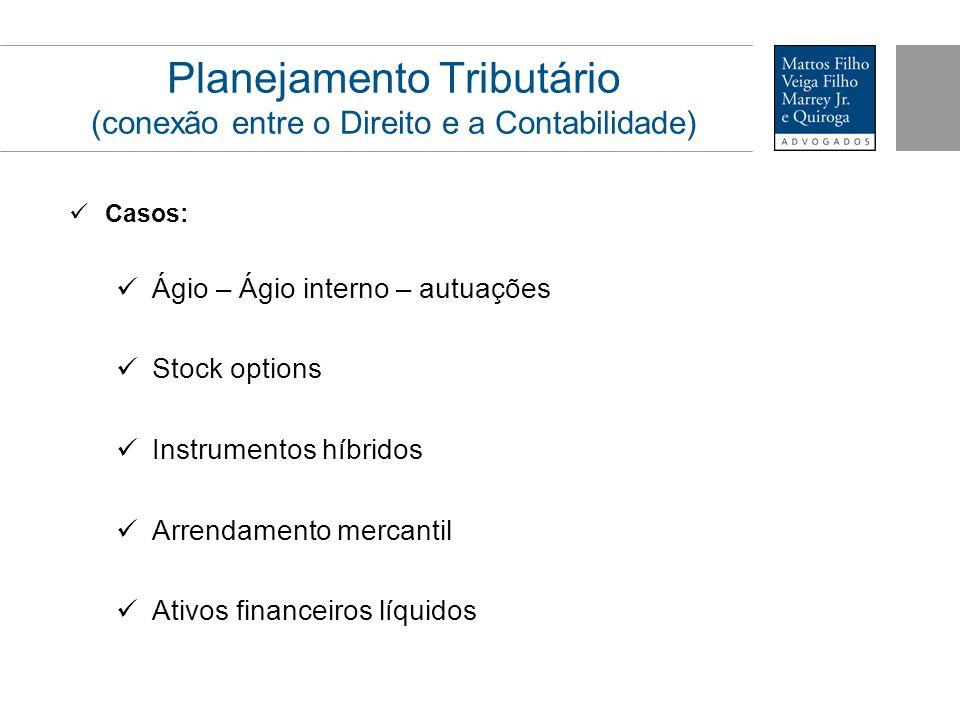 Planejamento Tributário (conexão entre o Direito e a Contabilidade) Casos: Ágio – Ágio interno – autuações Stock options Instrumentos híbridos Arrenda