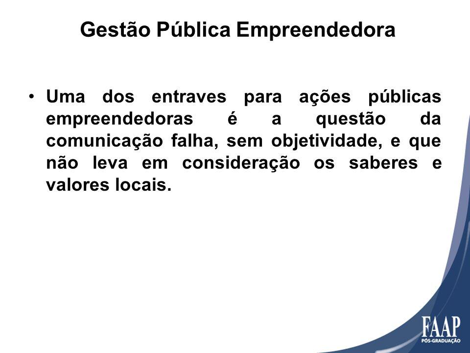 Gestão Pública Empreendedora Uma dos entraves para ações públicas empreendedoras é a questão da comunicação falha, sem objetividade, e que não leva em