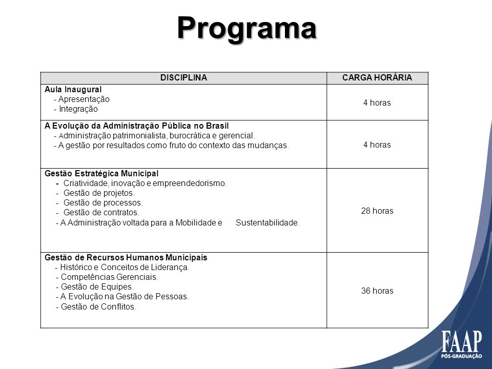 Programa DISCIPLINACARGA HORÁRIA Aula Inaugural - Apresentação - Integração 4 horas A Evolução da Administração Pública no Brasil - A dministração pat