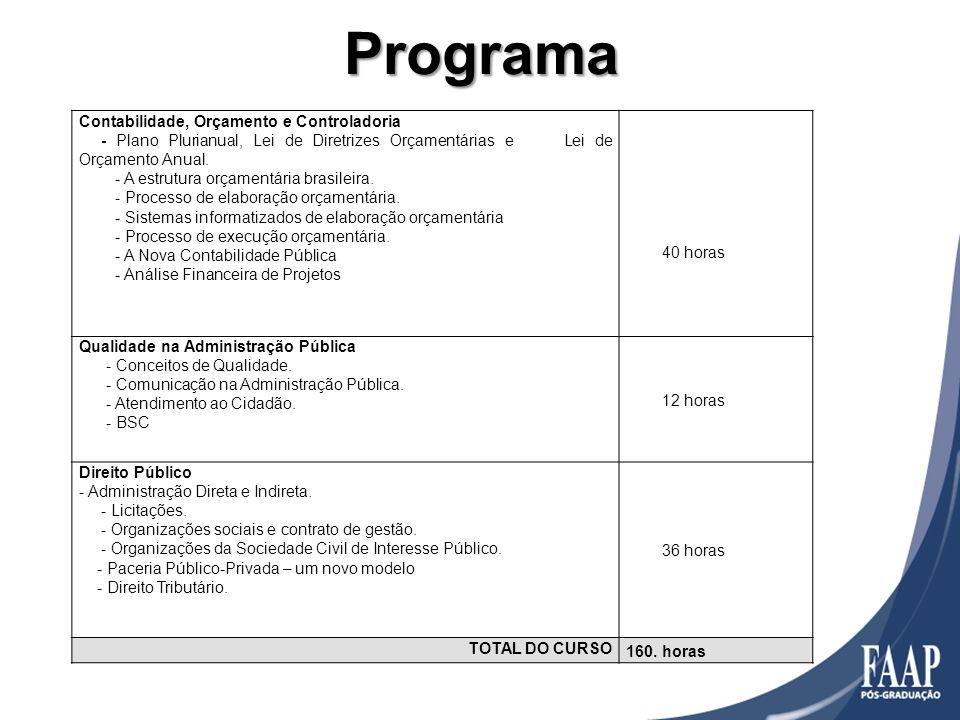 Programa Contabilidade, Orçamento e Controladoria - Plano Plurianual, Lei de Diretrizes Orçamentárias e Lei de Orçamento Anual. - A estrutura orçament