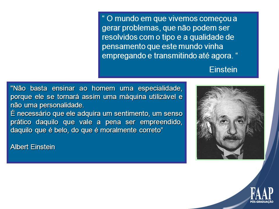 O mundo em que vivemos começou a gerar problemas, que não podem ser resolvidos com o tipo e a qualidade de pensamento que este mundo vinha empregando