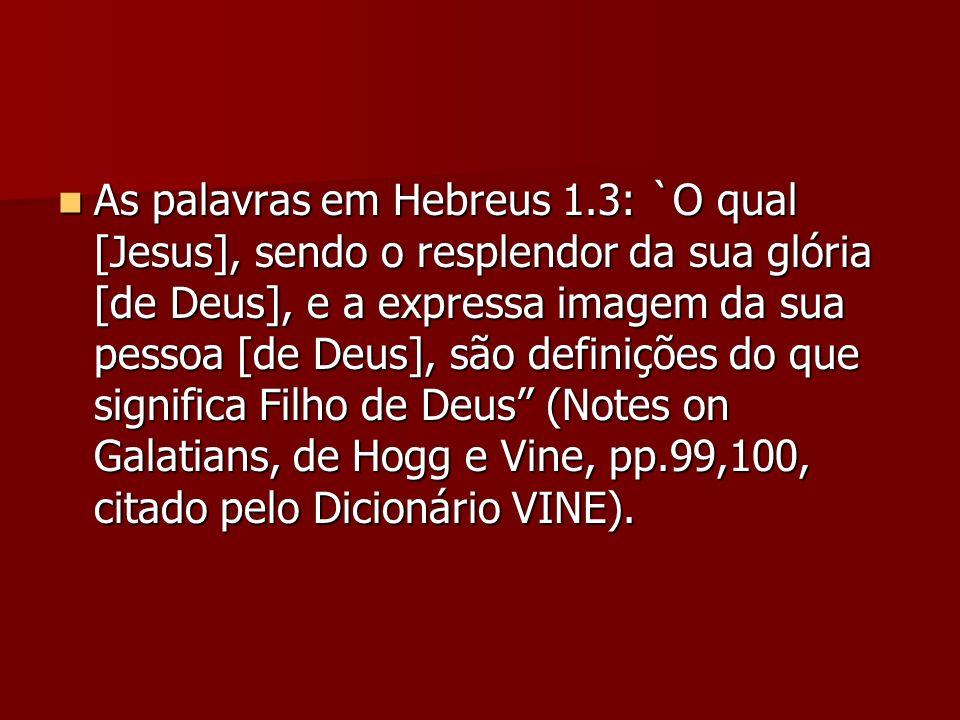 As palavras em Hebreus 1.3: `O qual [Jesus], sendo o resplendor da sua glória [de Deus], e a expressa imagem da sua pessoa [de Deus], são definições d