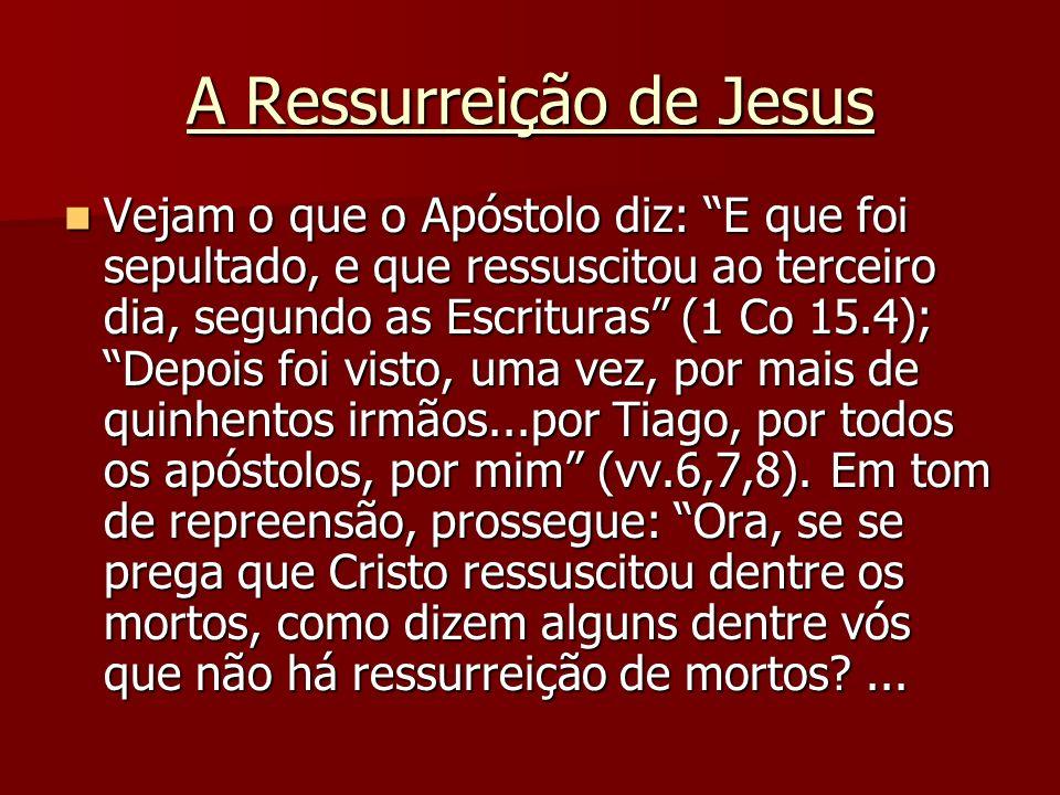 A Ressurreição de Jesus Vejam o que o Apóstolo diz: E que foi sepultado, e que ressuscitou ao terceiro dia, segundo as Escrituras (1 Co 15.4); Depois
