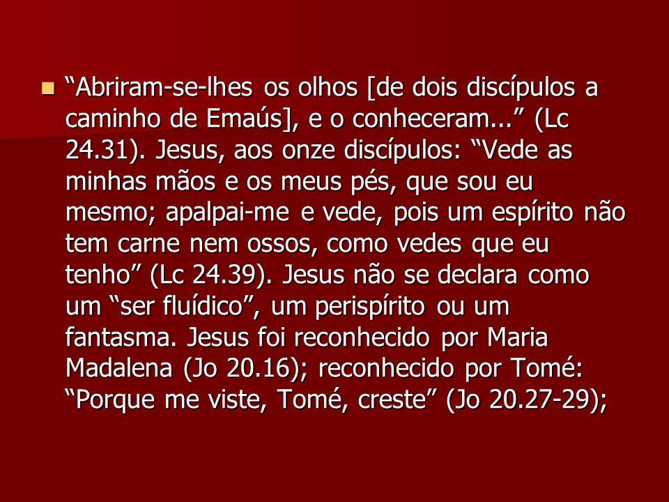 Abriram-se-lhes os olhos [de dois discípulos a caminho de Emaús], e o conheceram... (Lc 24.31). Jesus, aos onze discípulos: Vede as minhas mãos e os m