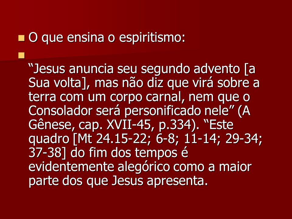 O que ensina o espiritismo: O que ensina o espiritismo: Jesus anuncia seu segundo advento [a Sua volta], mas não diz que virá sobre a terra com um cor