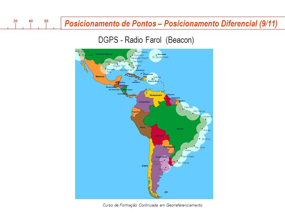 3040 50 Curso de Formação Continuada em Georreferenciamento Posicionamento de Pontos – Posicionamento Diferencial (9/11) R DGPS - Radio Farol (Beacon)