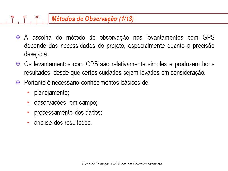 3040 50 Curso de Formação Continuada em Georreferenciamento Métodos de Observação (1/13) A escolha do método de observação nos levantamentos com GPS d