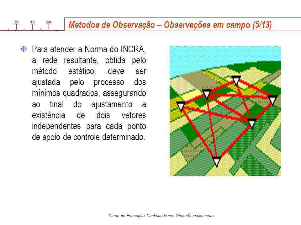 3040 50 Curso de Formação Continuada em Georreferenciamento Métodos de Observação – Observações em campo (5/13) Para atender a Norma do INCRA, a rede