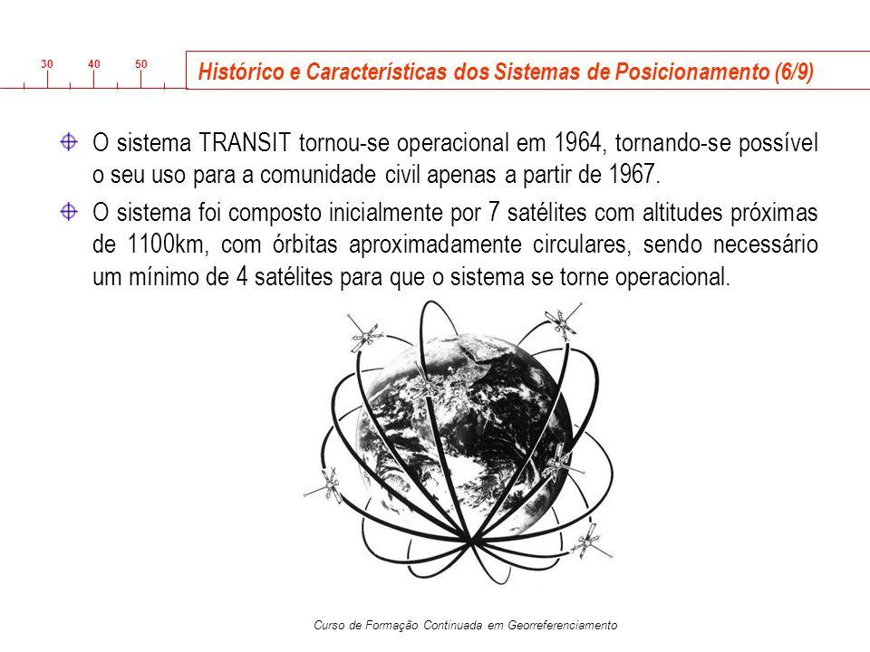 3040 50 Curso de Formação Continuada em Georreferenciamento O sistema TRANSIT tornou-se operacional em 1964, tornando-se possível o seu uso para a com
