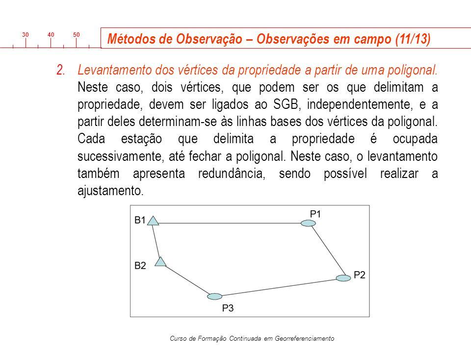 3040 50 Curso de Formação Continuada em Georreferenciamento 2.Levantamento dos vértices da propriedade a partir de uma poligonal. Neste caso, dois vér