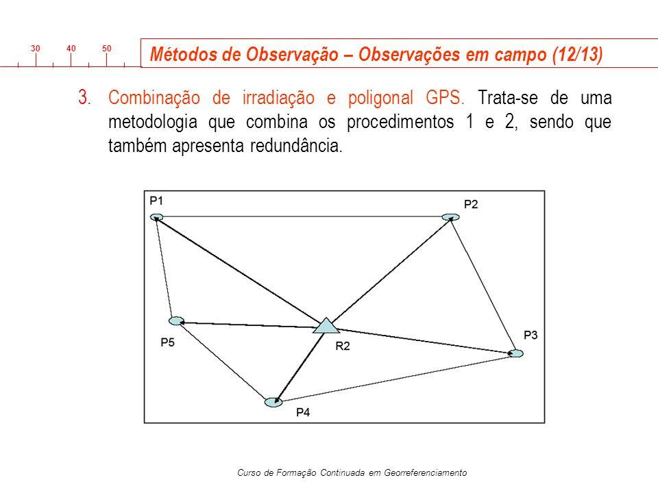 3040 50 Curso de Formação Continuada em Georreferenciamento Métodos de Observação – Observações em campo (12/13) 3.Combinação de irradiação e poligona
