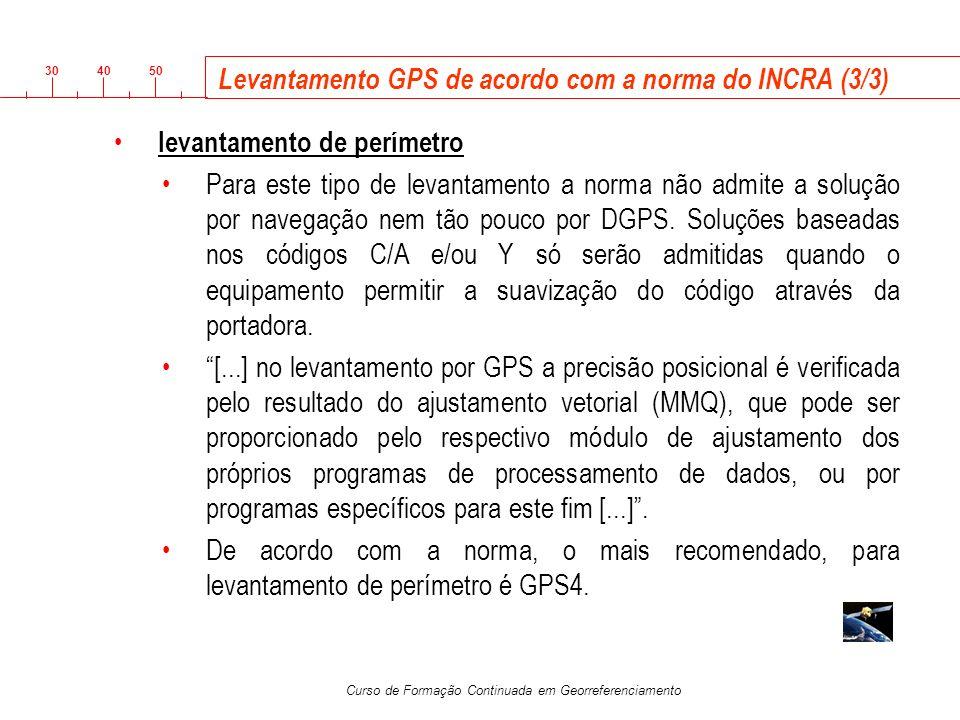 3040 50 Curso de Formação Continuada em Georreferenciamento Levantamento GPS de acordo com a norma do INCRA (3/3) levantamento de perímetro Para este