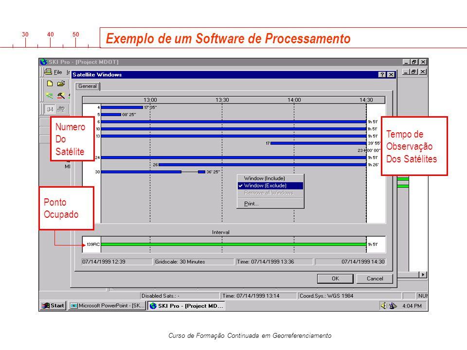 3040 50 Curso de Formação Continuada em Georreferenciamento Exemplo de um Software de Processamento Tempo de Observação Dos Satélites Numero Do Satéli