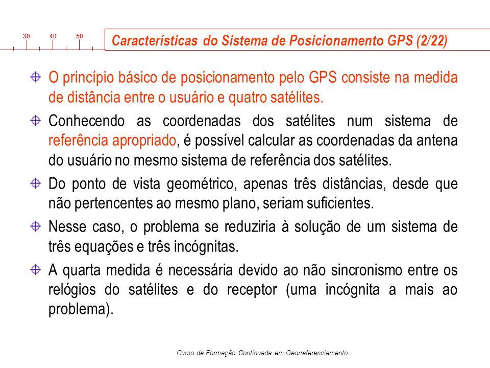 3040 50 Curso de Formação Continuada em Georreferenciamento Características do Sistema de Posicionamento GPS (2/22) O princípio básico de posicionamen