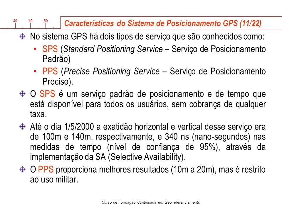 3040 50 Curso de Formação Continuada em Georreferenciamento Características do Sistema de Posicionamento GPS (11/22) No sistema GPS há dois tipos de s