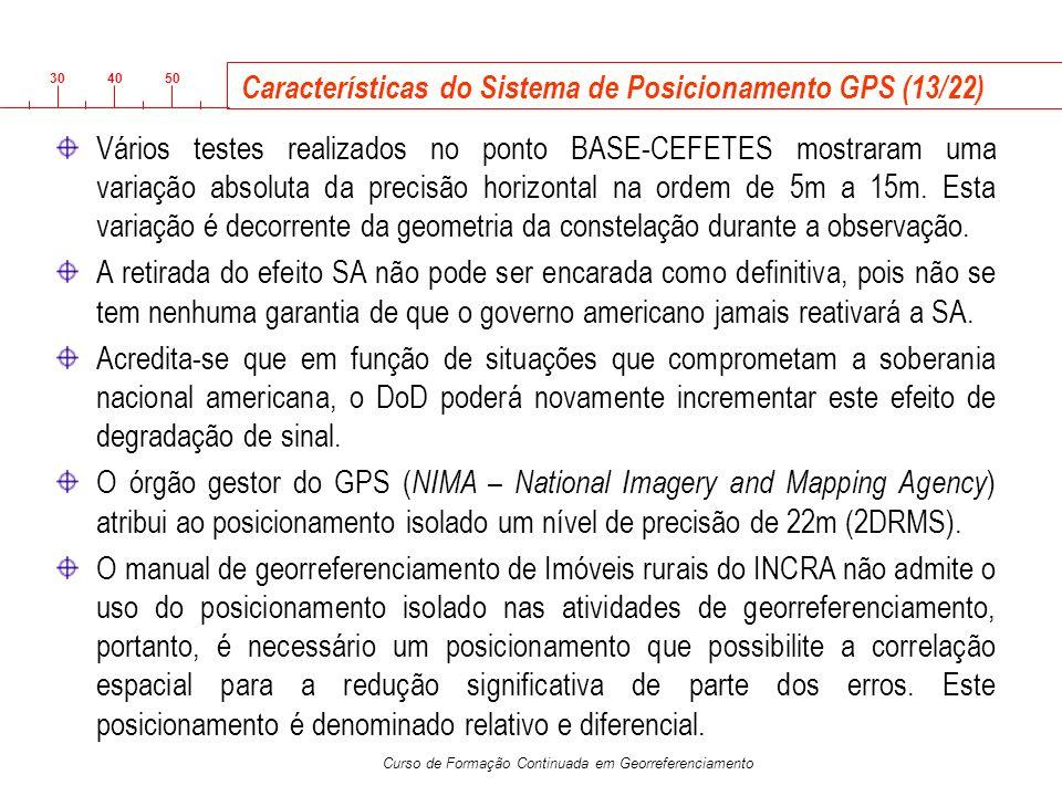 3040 50 Curso de Formação Continuada em Georreferenciamento Características do Sistema de Posicionamento GPS (13/22) Vários testes realizados no ponto
