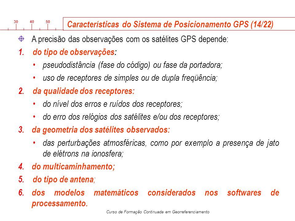 3040 50 Curso de Formação Continuada em Georreferenciamento Características do Sistema de Posicionamento GPS (14/22) A precisão das observações com os
