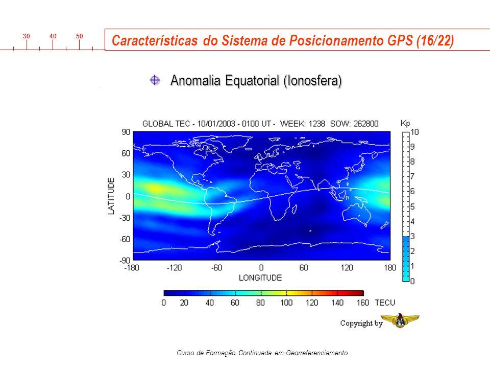 3040 50 Curso de Formação Continuada em Georreferenciamento Características do Sistema de Posicionamento GPS (16/22) Anomalia Equatorial (Ionosfera)